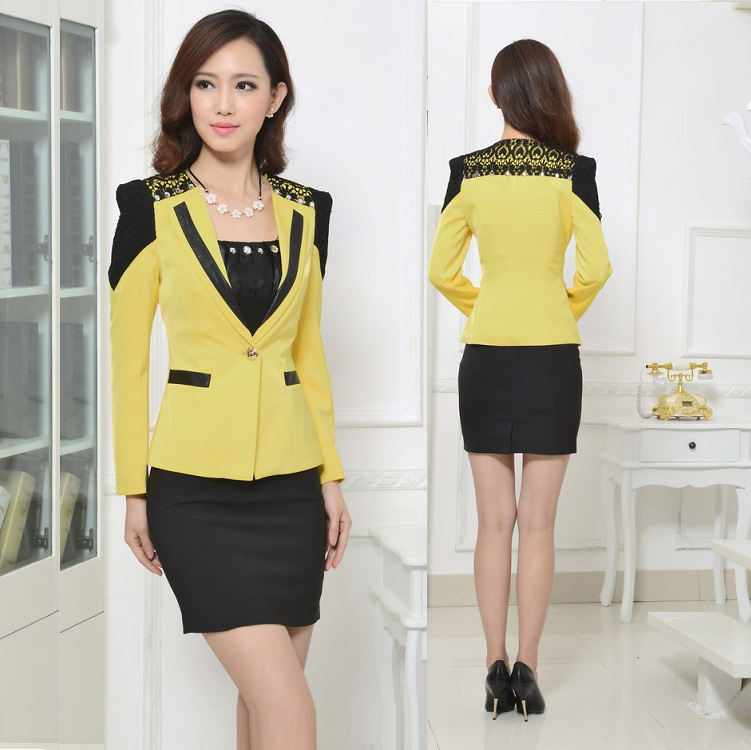 New arrival female business suit lace skirt suits set for Office uniform design 2014