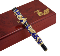 Jinhao Azul Cloisonne Dupla Dragão Fountain Pen Iridium Médio Nib Caneta de Escrita Presente Ofício Avançado para Pós-graduação de Negócios Do Escritório