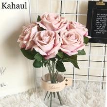 30 см короткие большие искусственные розы ветка Цветы Свадебные украшения дома фланелевая ткань милые розовые Искусственные цветы ремесла вечерние украшения