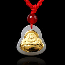Natural Hetian Jade Inlay 24K Gold Pendant Men and Women Buddha Amulet Necklace Jewelry Gifts