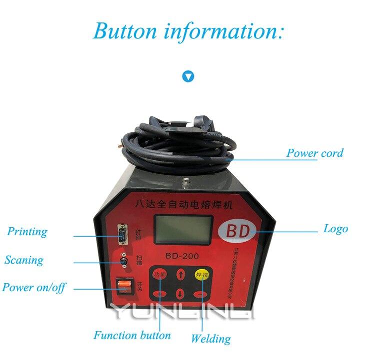Machine de soudage bout à bout électrique 220 V gazoduc Machine de soudage automatique en acier maille squelette Tube thermofusible Machine BD 200 - 4
