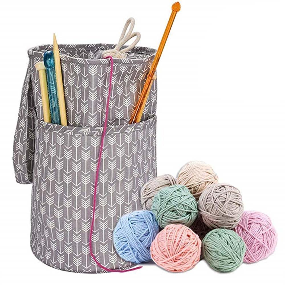 2 Sizes Portable Knitting Bag Yarn Storage Craft Tote Wool Crochet Needles Organizer