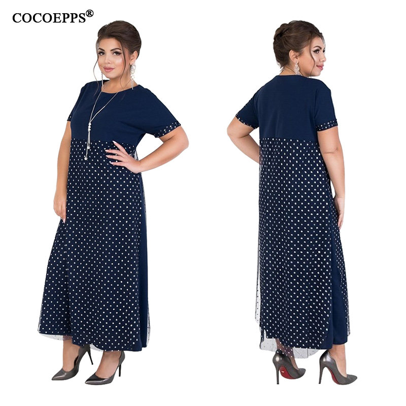 Big Size Long Maxi Dress 5xl 6xl Summer Dress 2019 Dot Mesh Elegant Party Night Dress Plus Size Women Clothes Large Vestidos in Dresses from Women 39 s Clothing