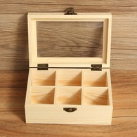 1pcs 6 Compartments Wooden Tea Box Vintage Jewelry Accessories Storage Container Pine Wood Tea Gift Store Box Case Container