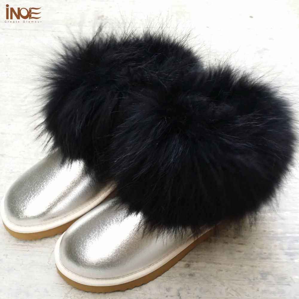 Fashion Fox fur ankle short snow boots for women sheepskin leather wool lined winter boots girls shoes waterproof free shipping