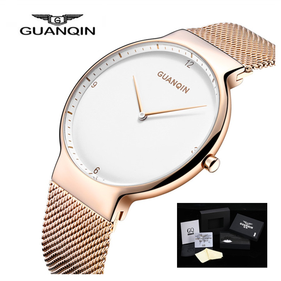 2018 Mens Watches Top Brand Luxury GUANQIN Simple Men Business Stainless Steel Waterproof Quartz Wrist Watch relogio masculino doc johnson vac u lock codeblack thin dong 18 см реалистичная насадка к трусикам
