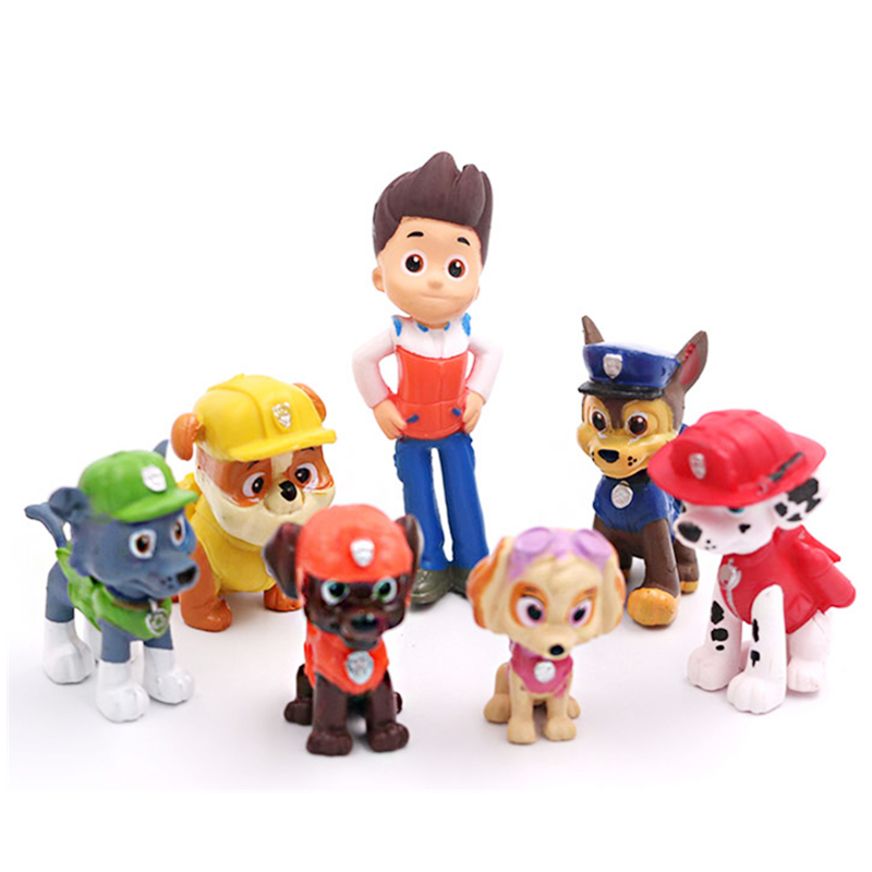 12 Pieces / Set Of Paw Patrol Rescue Dog Figure Doll Set Toy PVC Sliding Model Picture Anime Action Model Children Birthday Gift