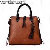 Tote NEW Leather Bags Handbags Women Bags Designer Vintage Solid Zipper Women Bag Satchels Tassel Hard