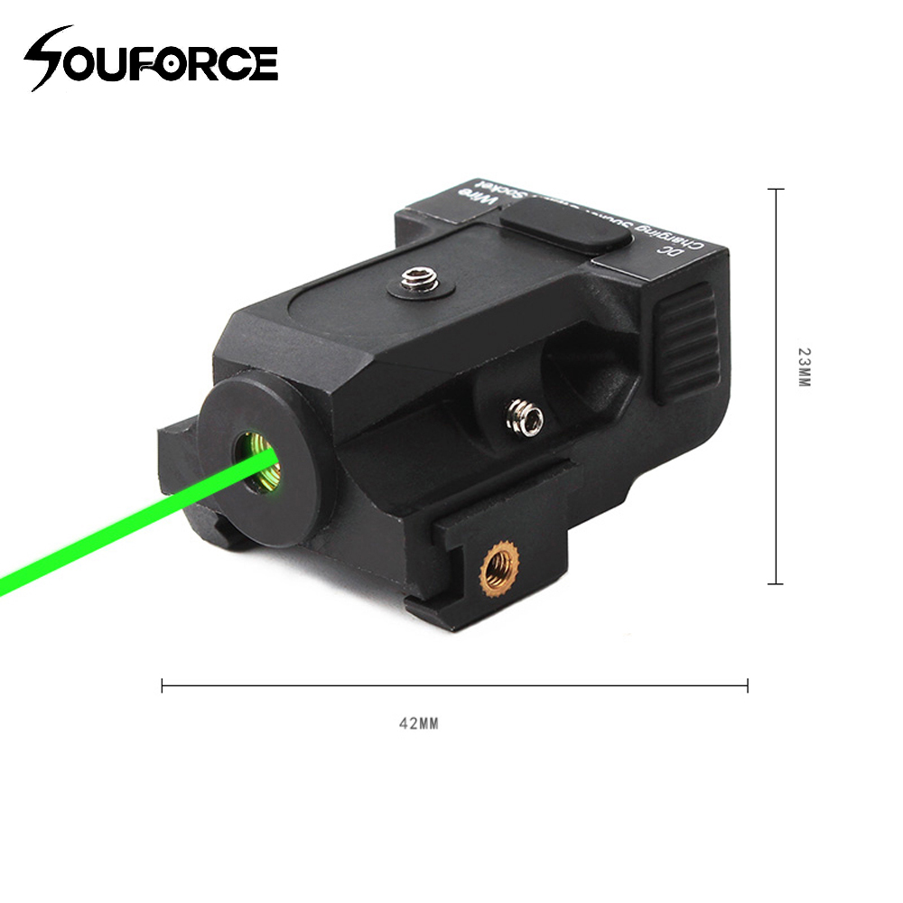 Tactical Rechargeable Full Metal Green Laser Sight Ranger 50-100m for 20mm Rail Mounts in Hunting