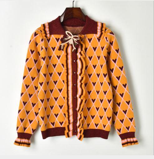 orange Contrastées En Des Coeur Fit Avec Romantique Slim Femmes Ruché Poignets Doux Et Broche Noir Détails Coeurs Imprimer Cardigan Tricot Fc3KJTl1