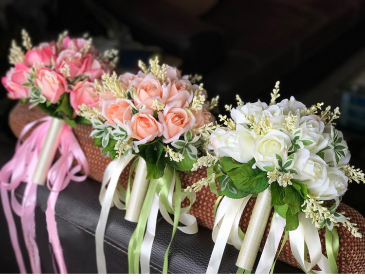 white pink silk flowers bridesmaids bridal Wedding Bouquets rose flowers (7)