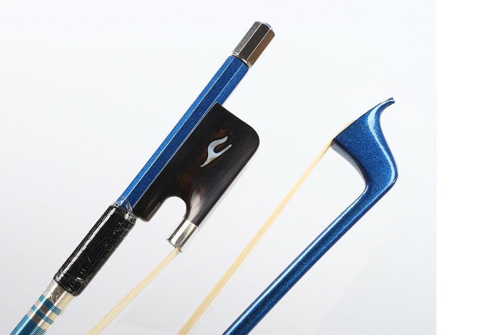 4/4 violoncelle arc haut de gamme en Fiber de carbone bleu bâton AAA cheval cheveux Pernambuco niveau