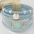 2017 Boho Women Fashion Gem Rhinestone Magnetic Leather Bracelets&Bangles Bohemian Handmade Wristband jewelry pulseira feminina