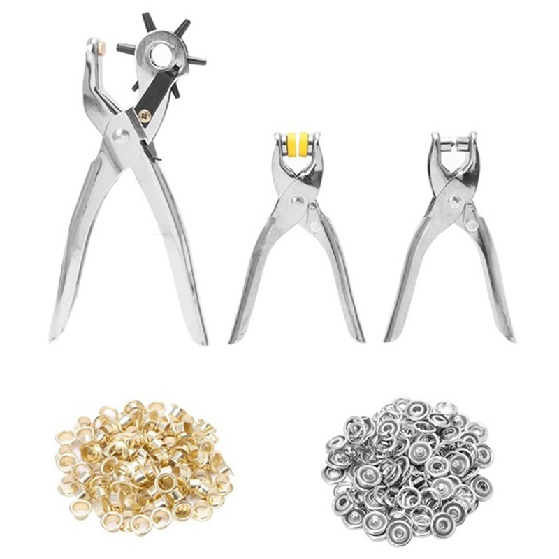 128 Pcs/Set Leather Hole Punch Repair Tool Eyelets Grommets + Pliers Kit New(Silver)