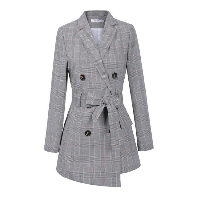 Casual Women Plaid Blazer Jacket Coat Belt Double Breasted Long Blazers Foraml Suit Casual Office Lady Wokr Wear Outwear chifave 3