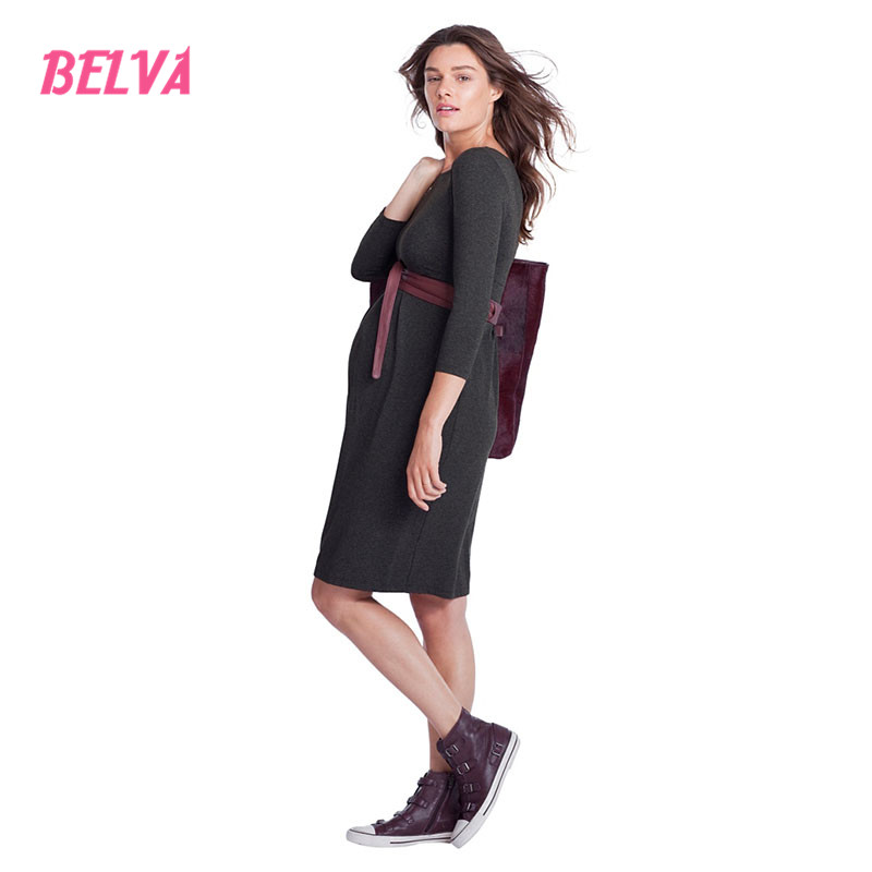 Belva Women s Maternity Knee length Front Pleated Midi Dress Nursing Friendly Baby Shower Maternity Wrap