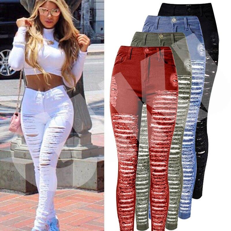 Пикантные Для женщин уничтожены рваные джинсы Узкие штаны с дырками Высокая талия стрейч Джинсы для женщин тонкий узкие брюки черный, белый цвет синий