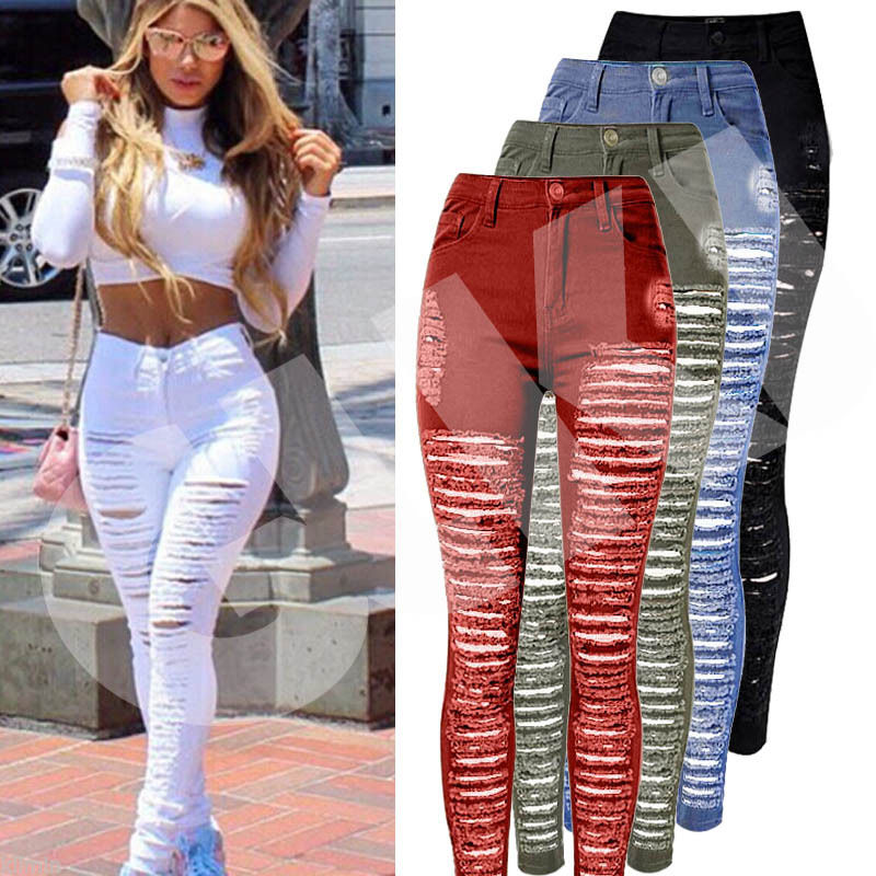 Sexy Women Destroyed Ripped Denim Jeans Skinny Hole Pants High Waist Stretch Jeans Slim Pencil Trousers Black White Blue fashion europe style printed jeans men denim jeans slim black painted pencil pants long trousers tight fit casual pattern pants