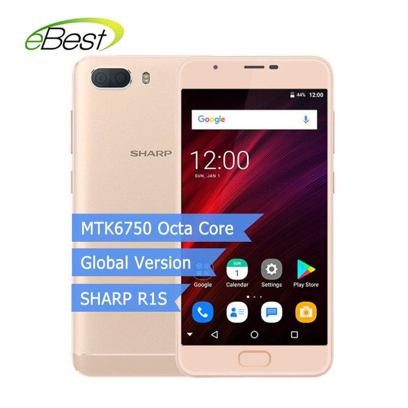 Global Version SHARP R1S FS8028 Smartphone 5.5'' HD IPS 2.5D Curved MTK6750 Octa Core 3GB RAM 32GB ROM 5000mAh 4G LTE Celphone