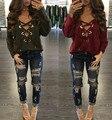 Свободные Повязки Моды Осень Рубашки Женщины Повседневная С Длинным Рукавом Кружева Рубашки Глубокий V Пуловер Топ Топы