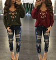 Loose Bandage Fashion Autumn Shirt Women Casual Long Sleeve Lace Up Shirt Deep V Pullover Top Tops