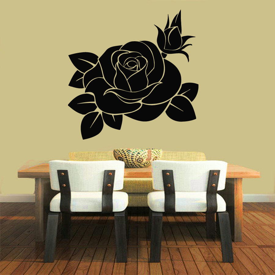 WALL VINYL STICKER DECALS ART MURAL DECOR ROSE FLOWER FLORAL DESIGN ...