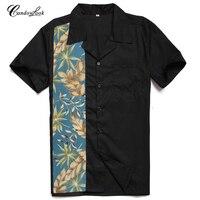 Candowlook Newest Men S Woven Shirts Collar Navy Palm Leaf Print 50 S Retro Vintage Rock