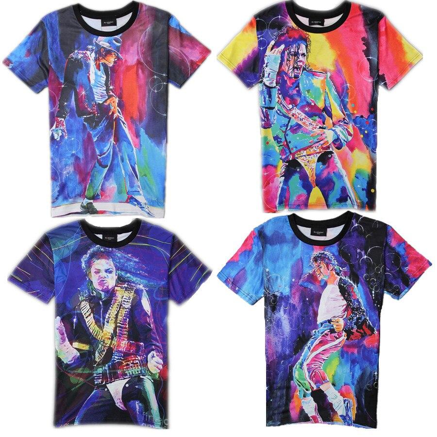 2016 Rare MJ Michael Jackson In Memory Cotton 100% Punk Character Printing Short Tees Tops Tshirt 6 Style Causal Fashion
