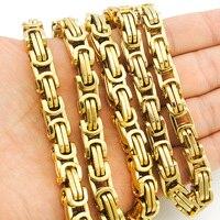 Atgo promoción! Hombres Collares cadena enlace collar del acero inoxidable 8mm ancho 25' bizantino alta calidad al por mayor bn004