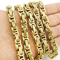 Promotion! Men's Necklaces Gold Chain Link Necklace Stainless Steel 8mm Width 25' Byzantine Wholesale High Quality BN004