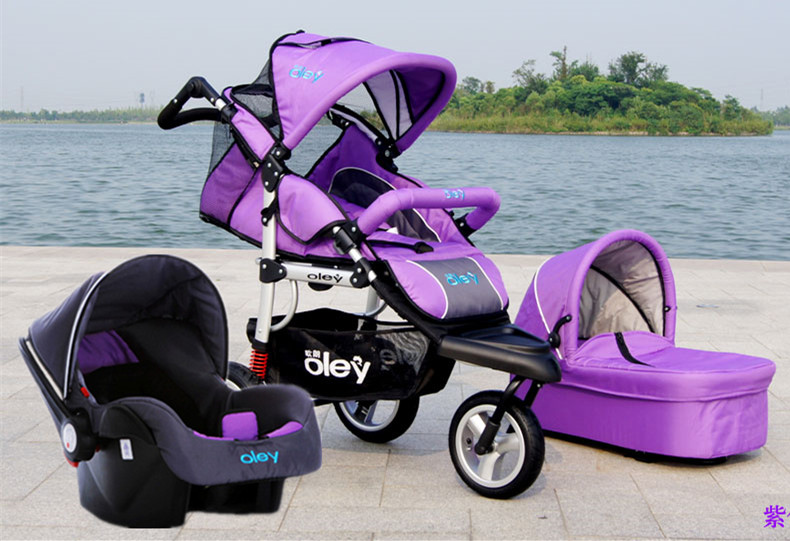 Baby 3 Wheels Prams With Car SeatBassinet Kids Carrier In 1 BeigeBlueRedPurple Colors And Pushchair Three Stroller From