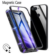 Metal Magnetic Case for iPhone XS Max XR X 7 8 Plus Adsorption Tempered Glass Cover MAX
