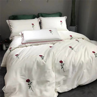 White Modern Style Red Rose Embroidery Bedding Set Blue Court Style Duvet Cover Bed Linen Bedsheet Pillowcases King Queen 4pcs