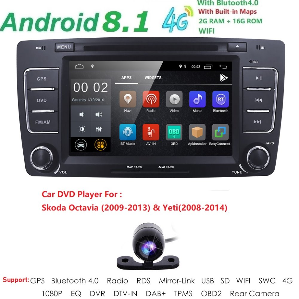 2 Din voiture DVD GPS pour Skoda Octavia 2012 2013 A 5 A5 Yeti Fabia voiture Android 8.1 Quad Core 2 GB RAM stéréo Radio Navigation caméra