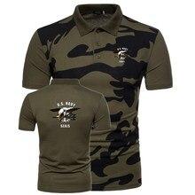 Camisa Polo de manga corta de camuflaje táctico de los EE. UU. Camisas  transpirables casuales de los hombres Navy seals uniforme. 50a129f3e79