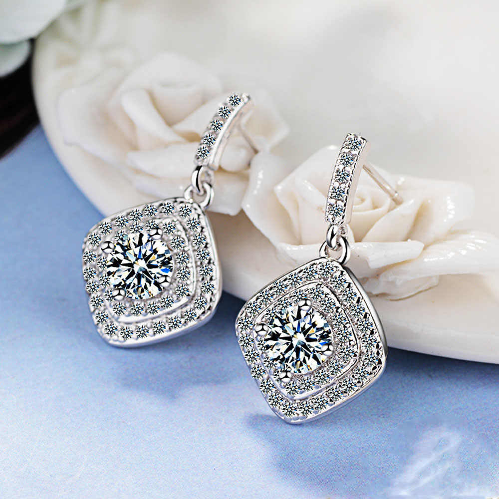 Authentic Real 925 Sterling Silver Vintage Allure Clear CZ Stud Earrings Women Wedding Jewelry Femme Brincos
