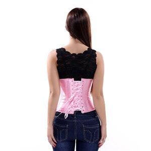 Бесплатная доставка сексуальный белый стали костей плюс размер под грудью корсеты и бюстье талия обучение корсет бюстье корректирующее белье розовый s-6xl