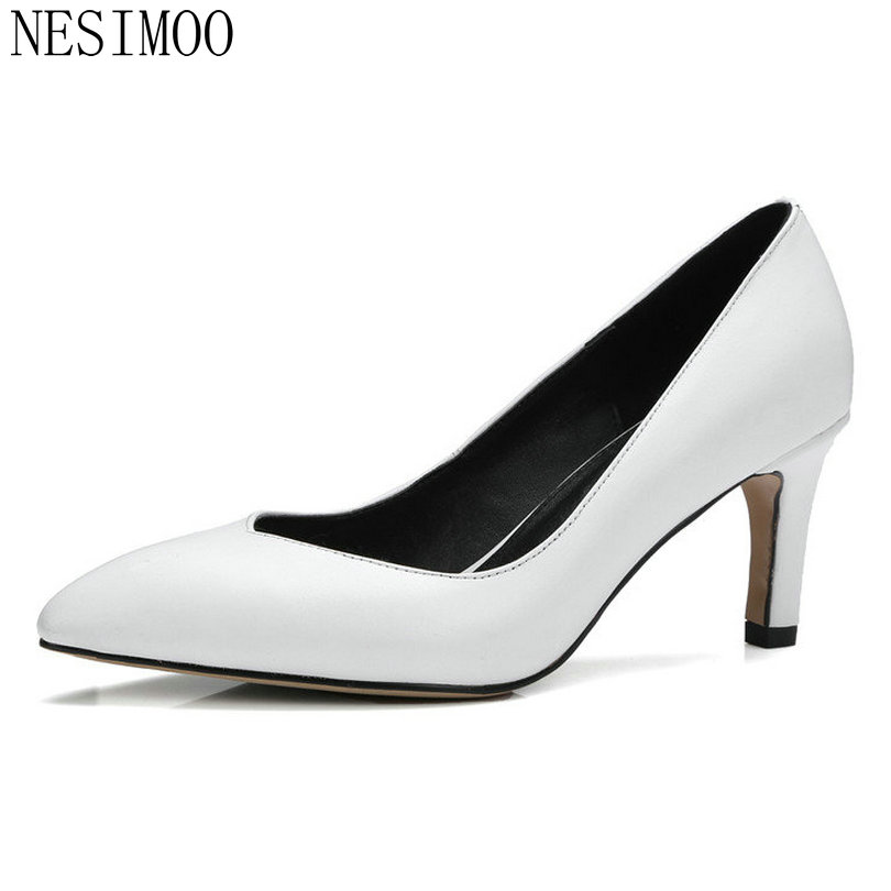 NESIMOO 2018 Spring Women Pumps Pointed Toe Thin High Heel Genuine Leather Slip on Ladies Wedding Shoes Size 34-39 hot sale 2016 new fashion spring women flats black shoes ladies pointed toe slip on flat women s shoes size 33 43