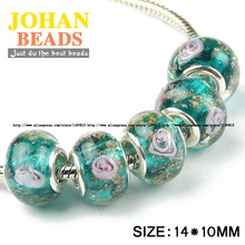 Ball-Fit Braclets Charms Glass-Bead Jewelry-Making Green European Beads-Style Round Big-Hole