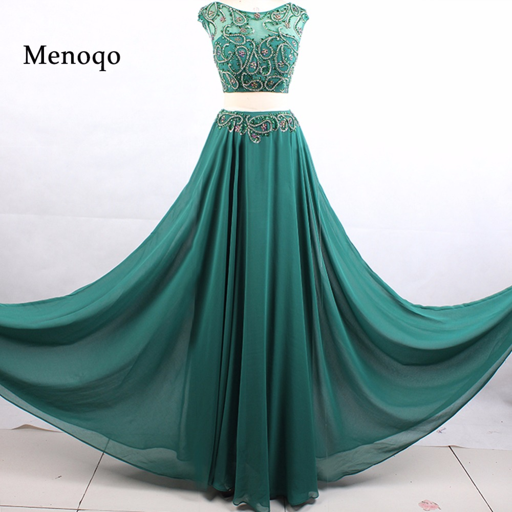 Luxury Girl A line Two Piece   Prom     Dress   2018 Cap sleeve Crystal Beaded   Prom     Dresses   Real Picture