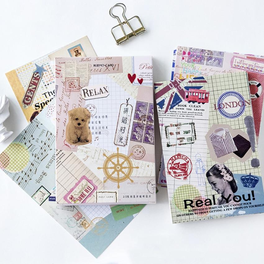 30Pcs/lot Kawaii Collage Time Postcard Set Greeting Card Envelope Gift Birthday Card DIY Gifts