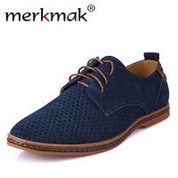 Merkmak Brand Spring Summer Suede Leather Men Casual Shoes Fashion Mens Flats Soft Breathable Lace Up