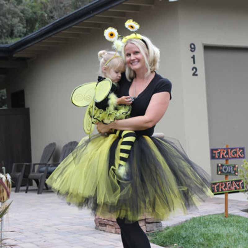 Bumble Bee Tulle Tutu Skirt Custom Made Ball Gown Ballet Dance Midi Skirt Mixed Color Black And Yellow Tutu Prom Costume