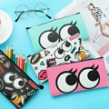 Fashion Korean Big Eyes Cosmetic Bag Pu Leather Women Makeup Cosmetics Bag Pencil Case Make Up Travel Storage Pouch