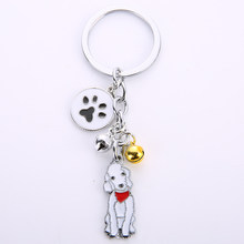 Fashion Jewelry Bellington Dog Keychain Pet Dogs Key Ring Animal Pendant Metal Bells Gift for Boyfriend Girlfriend(China)
