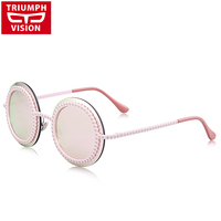 TRIUMPH VISION Pink Mirror Sunglasses For Women Brand 2017 Metal Round Sun Glasses Female New Circle Color Lens Shades Lunette