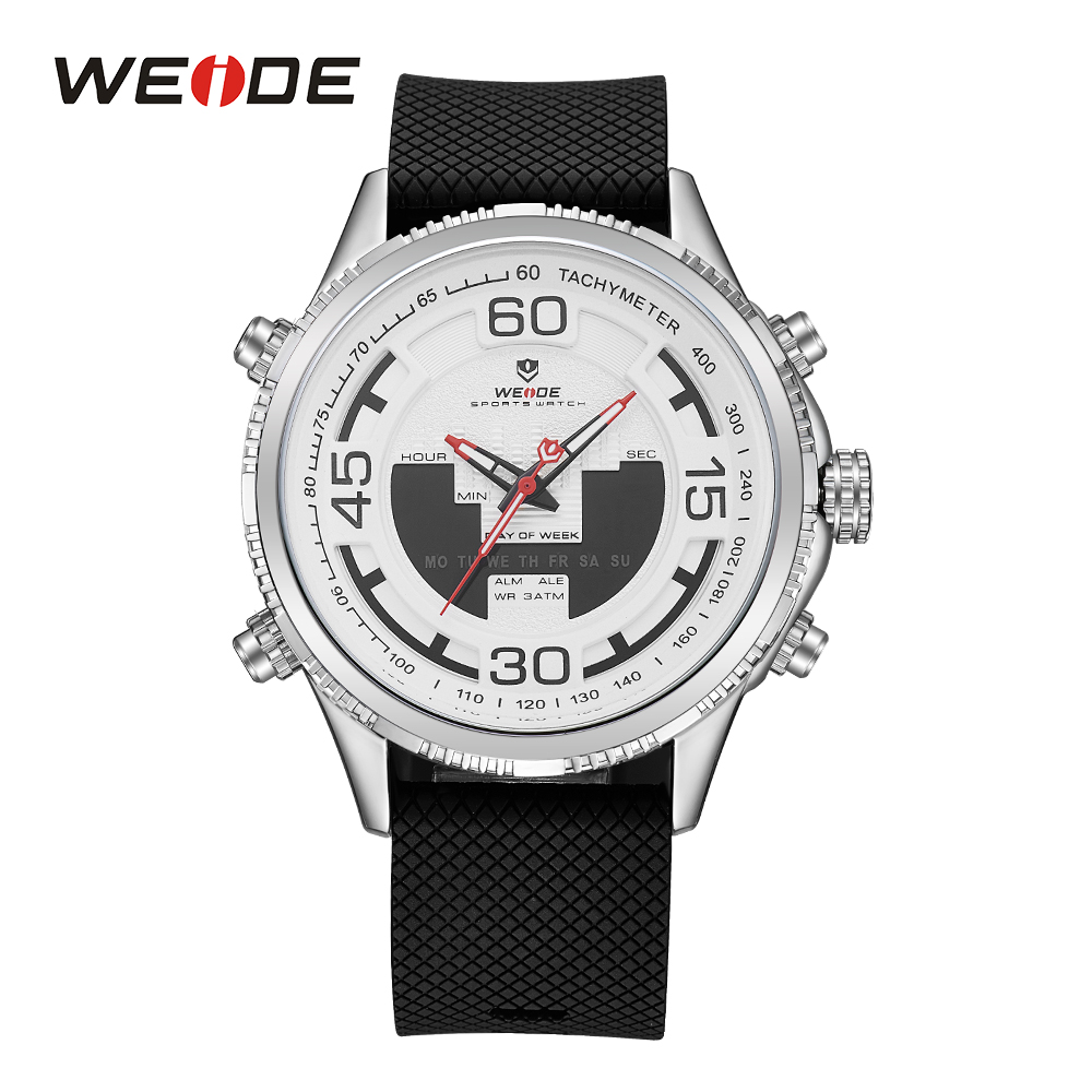 WEIDE Military Men Sports Analog Digital Display Back Light Date Week Quartz Stopwatch Stainless Steel Band Strap WristwatchesWEIDE Military Men Sports Analog Digital Display Back Light Date Week Quartz Stopwatch Stainless Steel Band Strap Wristwatches