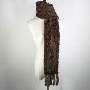 Image 3 - Vrouwen Real Mink Fur Sjaal 100% Echte Echte Mink Fur Uitlaat Goede Kwaliteit Groothandel En Detailhandel 2020 Echte Nerts Bont gebreide Sjaals