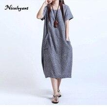 Здесь можно купить   Nicelegant 2017 Women Plus Large Size Fat MM Was Thin Cotton Linen Pregnant Dress Women Clothes Casual Fashion Loose Dresses Women