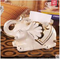 ceramic elephant tissue box Case home decor crafts room decoration paper holder ornament porcelain figurines wedding decoration